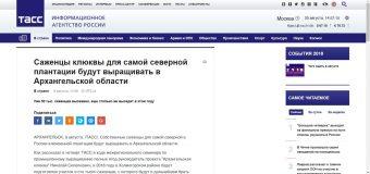 Статья о клюквенной плантации в ведущем информационном агентстве России